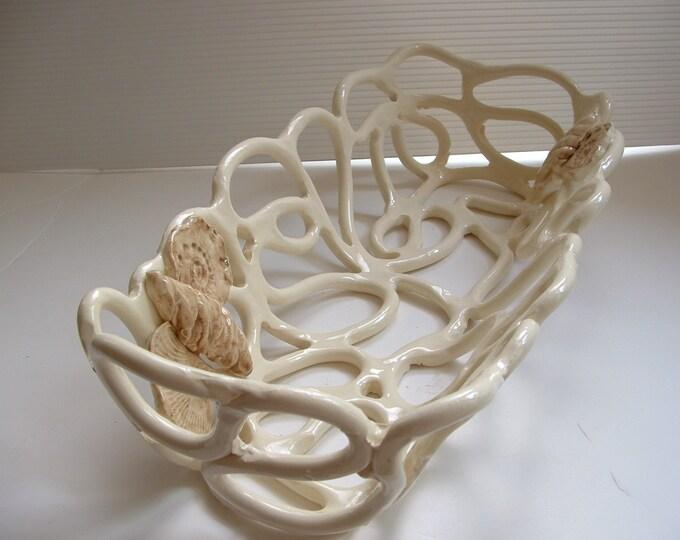 Open work Pottery Bowl with seashell design-fruit bowl-bread warmer,baker-home decor