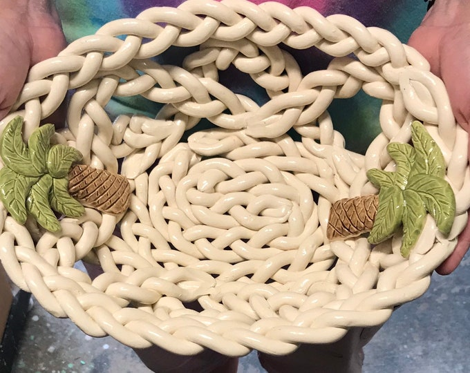 Braided ceramic bowl with palm trees fruit bowl bread warmer bread baker centerpiece home decor