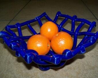 Woven Cobalt Blue Pottery Bowl- fruit bowl- bread warmer-centerpiece-home decor