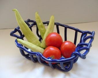 Cobalt blue pottery basket with handles centerpiece fruit bowl bread warmer home decor