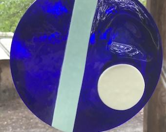 abstract cobalt blue glass suncatcher
