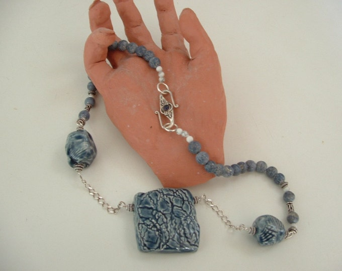Textured Denim Necklace-handcrafted clay beads-blue coral beads-sterling siver clasp with howlite bead-statement necklace