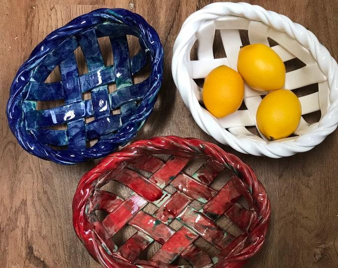 Woven Clay Basket - fruit bowl- bread warmer- baker -home decor- functional ceramic basket