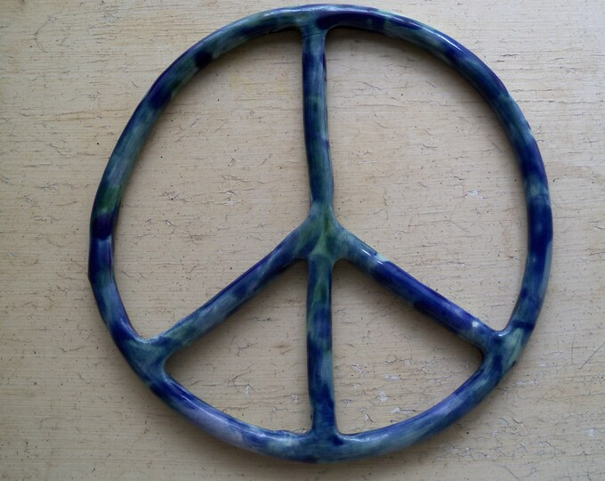 Peace Sign wall art home decor sculpture ceramic trivet blue green