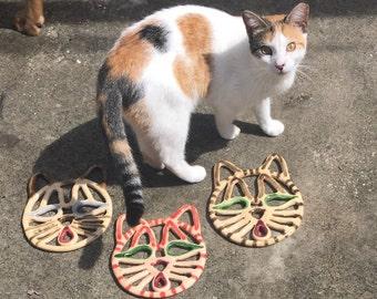 Ceramic cat trivet-functional cat decor-custom cat gift