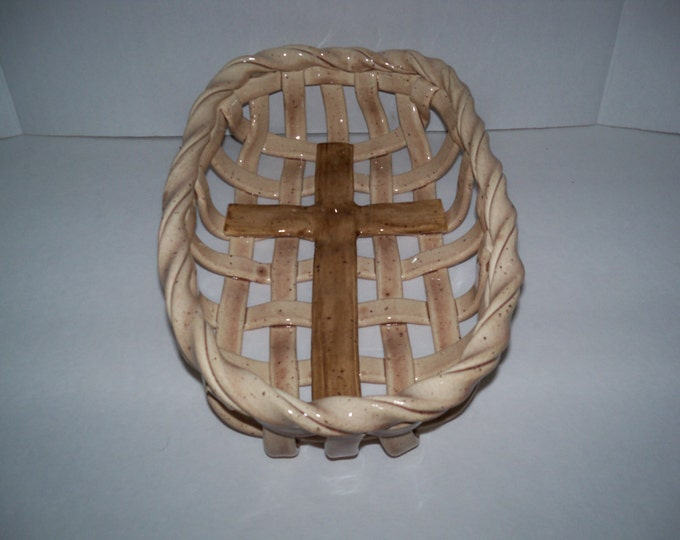 Woven Ceramic Bread Basket with cross design-aerated fruit bowl-pottery bread baker-bread warmer-christian gift-home decor