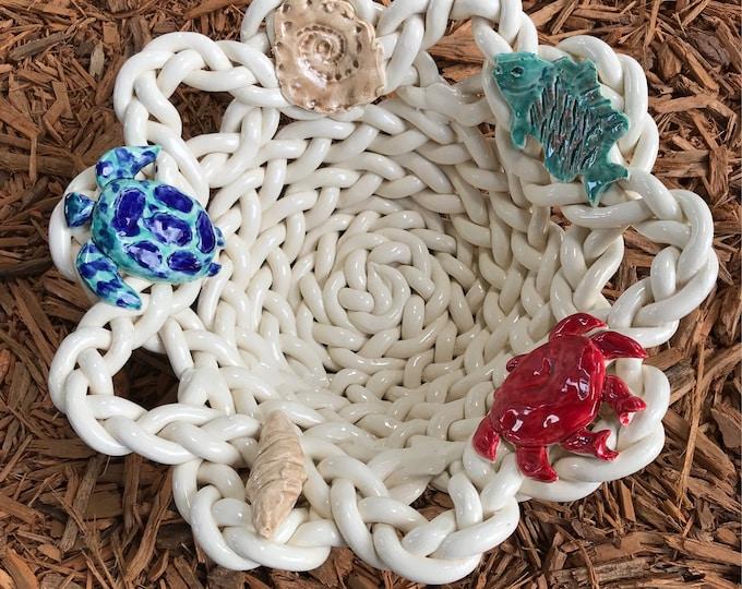 Braided pottery bowl 'aquatic life ' bread bowl fruit bowl colander beach decor