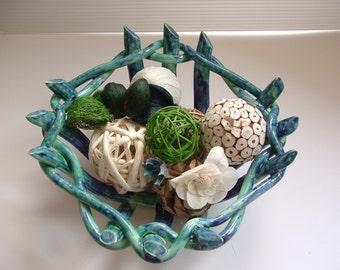 Ocean Blue Pottery Bowl -fruit bowl- bread warmer- home decor- great gift