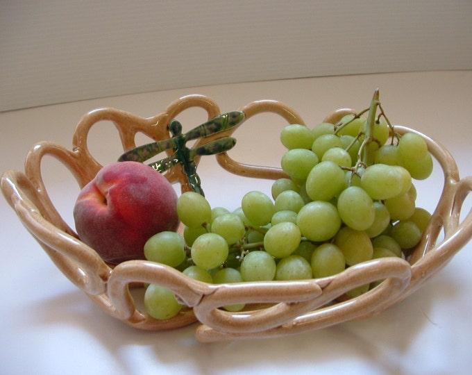 Dragonfly pottery fruit bowl