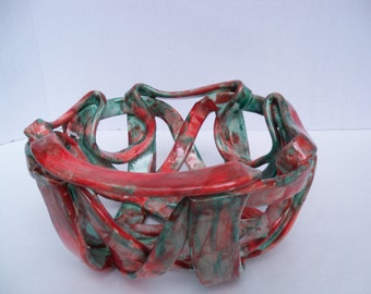 Ceramic Fruit Bowl- bread warmer-pottery red aqua- modern- home decor-open work pottery-aerated fruit bowl