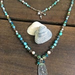 Mermaid / Goddess Hand-Knotted Necklace with semi-precious stones, pearls & crystals. Beach style, knotted silk, Blues , Tranquility, Peace