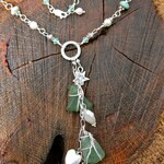 Sea Glass Y-Chain Necklace with hand-wrapped authentic beach glass - mermaid tears