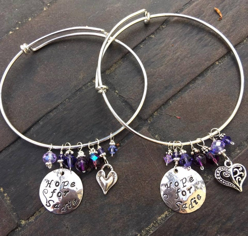 The Hope for Sadie Bangle BraceletHand-Stamped Disc heart image 0