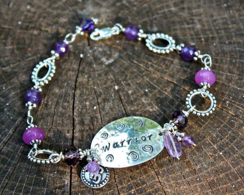 Warrior Bracelet Hand Stamped Disc Wire Wrapped Amethyst image 0