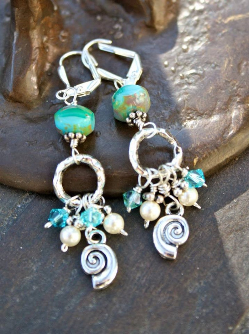 She Sells Sea Shells Dangle Chandelier Earrings Hand-crafted image 0