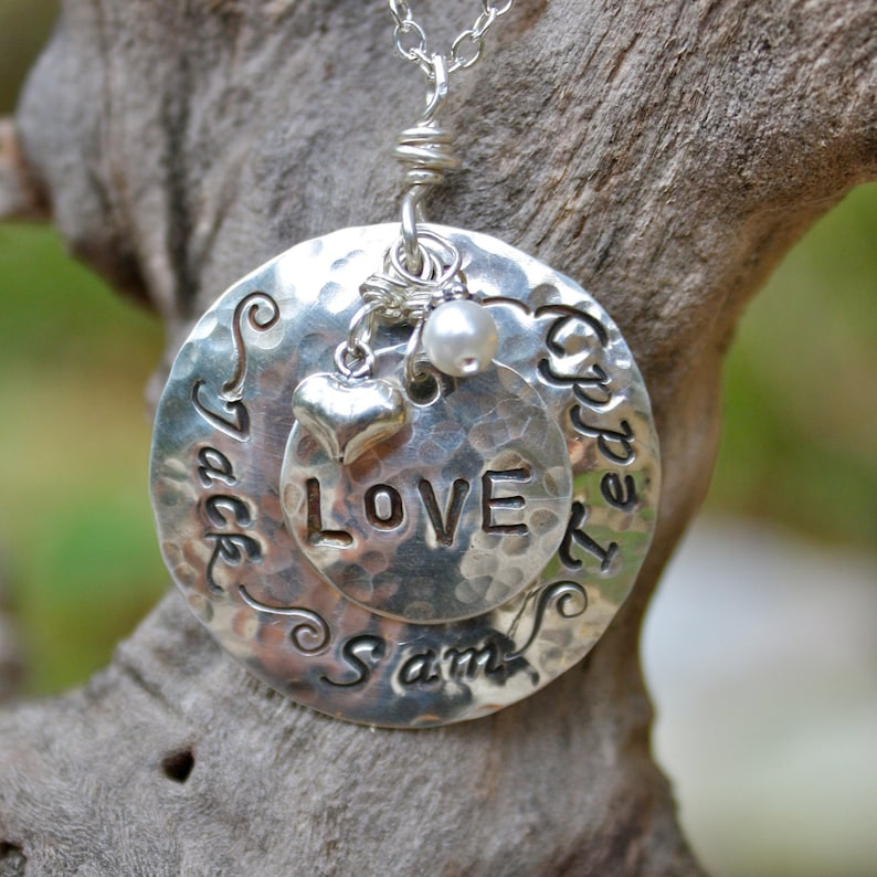 Stacked Personalized Hand-stamped Mommy Necklace with image 0
