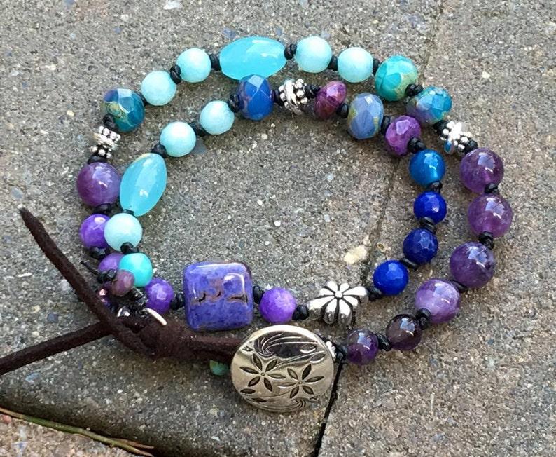 Peace & Harmony Energy Balancing Knotted Leather Bracelet w image 0