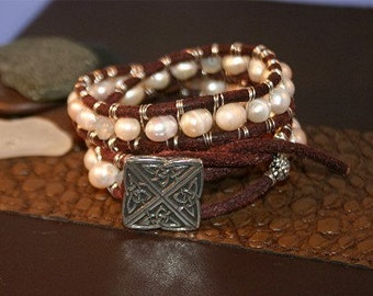 Funky Pearl and Leather Wrap Around Cuff Bracelet