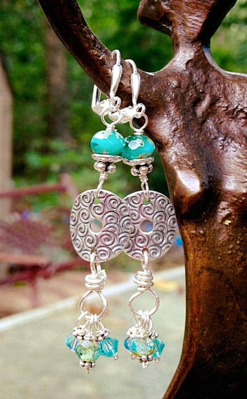 Hand Stamped Sea Swirl Earrings / spirals/ positive energy/ image 0