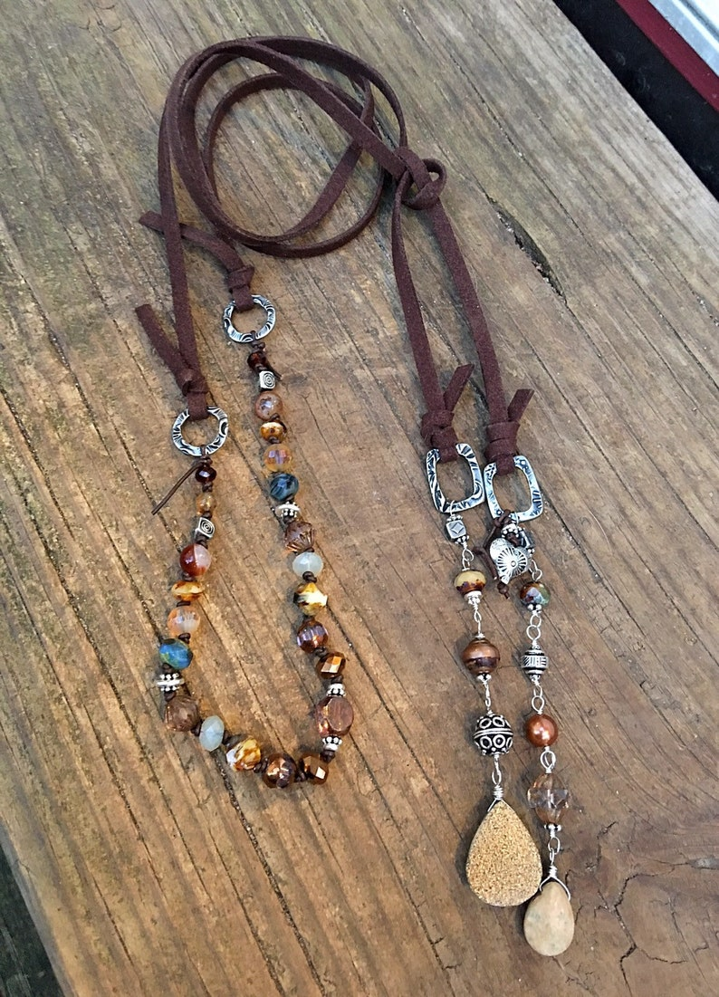 The Earth Lasso Lariat Necklace  in Deep Brown Vegan Suede Cord Hand Knotted with Semiprecious  Stones and Crystals  Versatile /& Fabulous!!