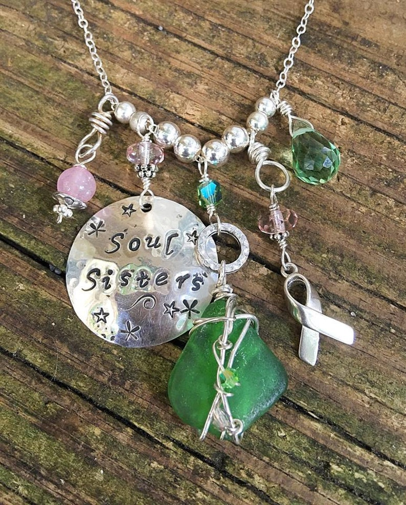Soul Sisters Personalized Hand-Stamped Breast Cancer Necklace image 0