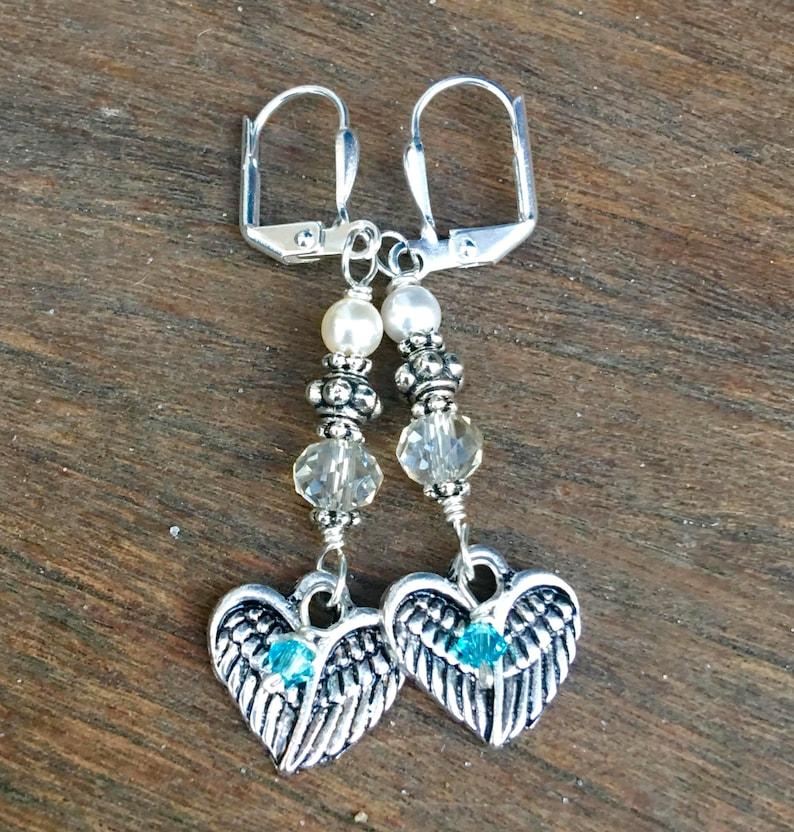 Mermaid Memorial Earrings in honor of someone who passed away. image 0