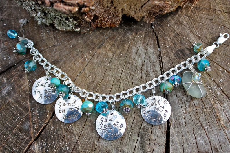 SHORE LIVING Hand-Stamped Beach Charm Bracelet with Genuine image 0