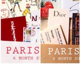 6 Paris letters and 6 Paris maps, a 6-month combo subscription, plus Paris souvenirs and bonus watercolor