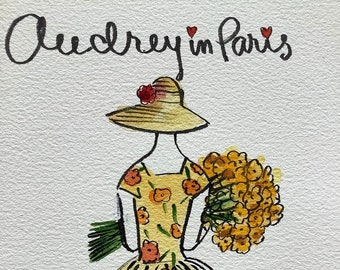 Audrey Hepburn in Funny Face, original watercolor, Audrey Hepburn art, shipped from Paris with tracking
