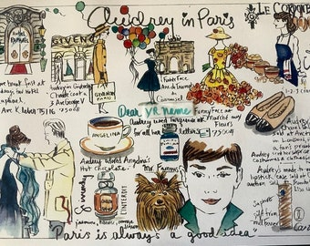 Audrey Hepburn in Paris map, illustrated Audrey map, personalized, mailed from Paris, with Parisian souvenirs, folded in an envelope