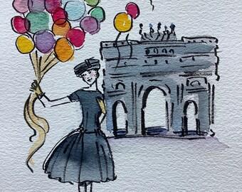 Audrey Hepburn, Funny Face, original watercolor, Audrey Hepburn art, Audrey Hepburn gift, shipped from Paris