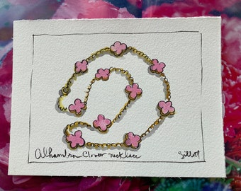 Clover-inspired necklace, original watercolor, Alhambra pattern, Necklace painting,