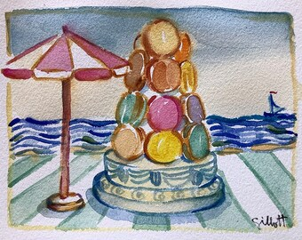"""French macarons on the beach, Paris gift, Original watercolor, Size: 6"""" x 8"""" Shipped with tracking"""