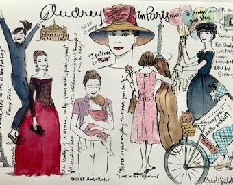 Audrey Hepburn letter, Audrey Hepburn print, Audrey Hepburn quote, Audrey Hepburn illustration, mailed from Paris, Paris souvenirs,ThinkPink