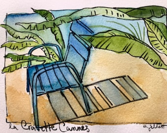 """Riviera, blue chair, le chaise blue, Cannes watercolor, Palm trees, original watercolor, shipped from Paris with tracking, size: 6"""" x 8"""""""