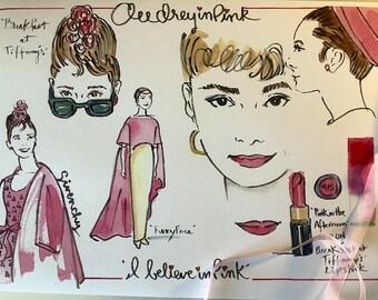Audrey Hepburn letter, Audrey Hepburn print, Audrey Hepburn quote, Audrey Hepburn illustration, mailed from Paris, Breakfast at Tiffany's