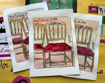 """French fashion show runway chairs, Personalized with your name or another, watercolor, Original artwork, Size: 6""""x 8"""", shipped with tracking"""