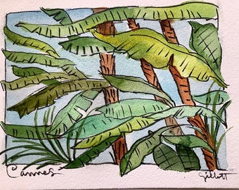 """Riviera, Cannes watercolor, Palm trees, original watercolor, shipped from Paris with tracking, size: 6"""" x 8"""""""