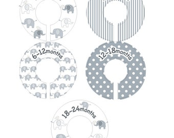 Elephant Baby Closet Dividers - Gender Neutral Clothing Organizer Size Dividers
