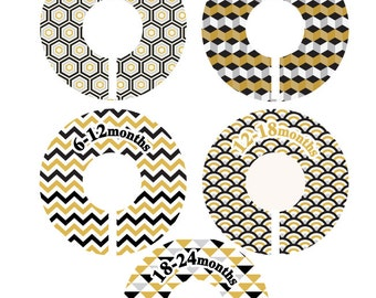 Modern Geometric Baby Closet Dividers - Chevron, hexagon, cube