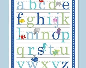 11x14 Ocean Sealife Alphabet Poster for Boys and Girls