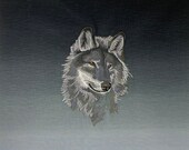 Quilt Block, Majestic Wolf, Embroidery Library Design, Gradiated Black to Gray Quilt Quality Fabric, 18 x 18 inches square,