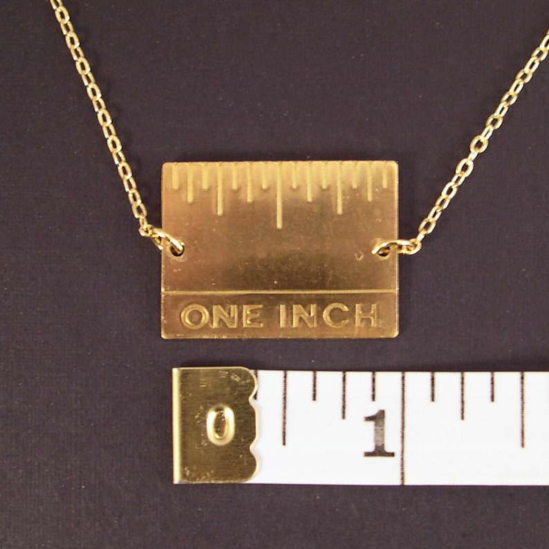 Give Me An Inch  Golden Real Inch Ruler Necklace Gold Plated image 0