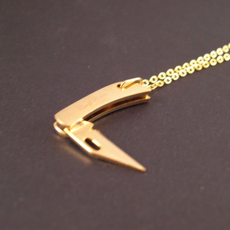 REAL Working Golden Tiny Folding Knife Necklace  YOU Are Sooo image 0