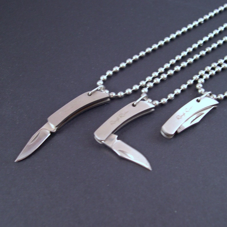 REAL Working Sharp Tiny Folding Knife Necklace  YOU Are Sooo image 0