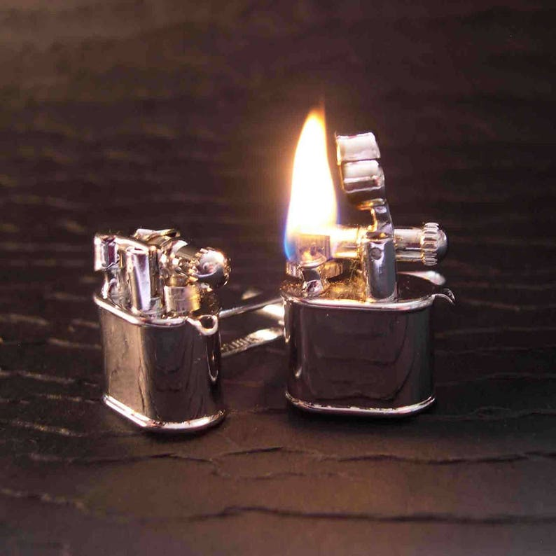LEATHER or Chrome Working Lighter Cufflinks image 0