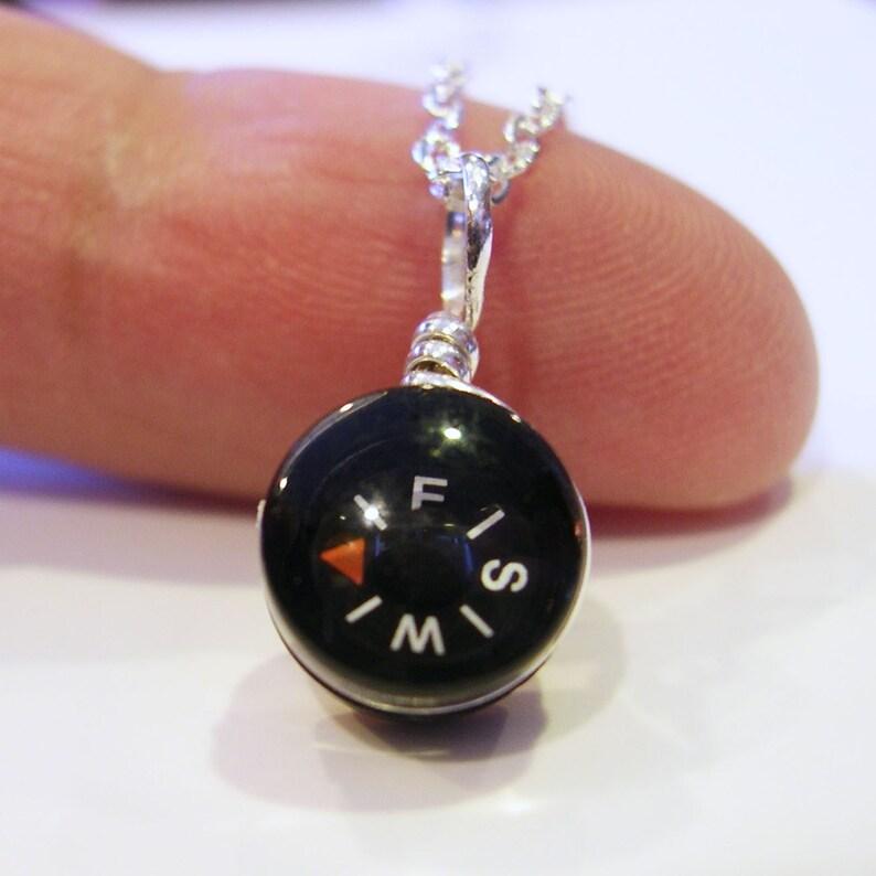 Tiny Compass Necklace  Micro Black image 0