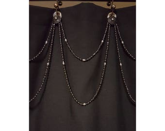 Beaded Shower Curtain Accent...Double Swag..Glass Beads