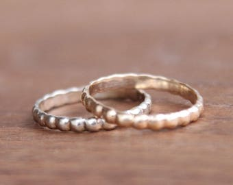 Gold Bead Rings, 14K yellow or white gold