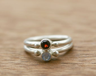 Birthstone Stacking Rings, Sterling Silver and Gemstone